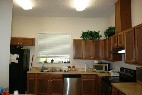 Rental facility kitchen.